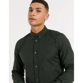 フレンチコネクション メンズ シャツ トップス French Connection oxford button down logo shirt in dark green Dark green