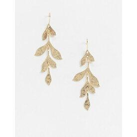 フレンチコネクション レディース ピアス&イヤリング アクセサリー French Connection leaf drop gold earrings Gold