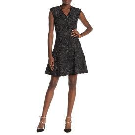 レベッカテイラー レディース ワンピース トップス Sparkle Metallic Tweed Mini Dress BLACK