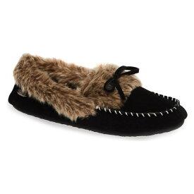エイコーン レディース サンダル シューズ Acorn Faux Fur Trim Moccasin Indoor/Outdoor Slipper (Women) Black Suede