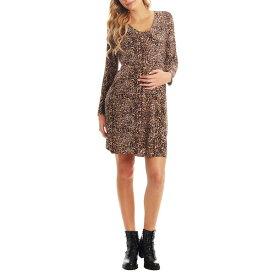 エベリーグレイ レディース ワンピース トップス Everly Grey Brigida Long Sleeve Maternity/Nursing Wrap Dress Leopard