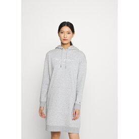 トミー ヒルフィガー レディース ワンピース トップス SCRIPT HOODIE DRESS - Day dress - light grey heather wnft0268
