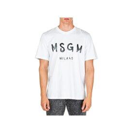 エムエスジイエム メンズ カットソー トップス MSGM Short Sleeve T-shirt Crew Neckline Jumper Bianco
