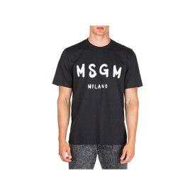 エムエスジイエム メンズ カットソー トップス MSGM Short Sleeve T-shirt Crew Neckline Jumper Nero