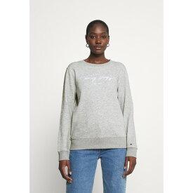 トミー ヒルフィガー レディース パーカー・スウェットシャツ アウター SCRIPT - Sweatshirt - light grey heather wpkj0238