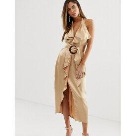 エイソス レディース ワンピース トップス ASOS DESIGN halter neck satin pencil midi dress with wooden buckle belt Gold