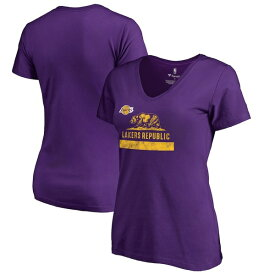ファナティクス レディース Tシャツ トップス Los Angeles Lakers Fanatics Branded Women's Plus Sizes Lakers Republic Hometown Collection T-Shirt Purple