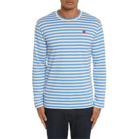 コムデギャルソン メンズ Tシャツ トップス Comme des Garons PLAY Long Sleeve Stripe Crewneck T-Shirt Blue