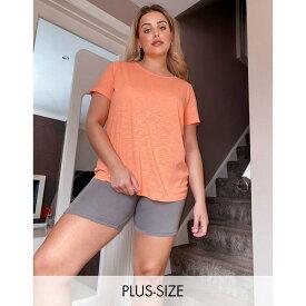 シンプリービー レディース Tシャツ トップス Simply Be active cross back t-shirt in peach Pink