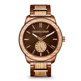 オリジナル・グレイン レディース 腕時計 アクセサリー Men's Whiskey Barrel Wood Paired with an Espresso Stainless Steel Bracelet Watch 46mm Multi