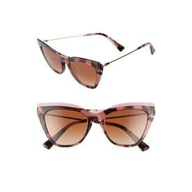 ヴァレンティノ レディース サングラス&アイウェア アクセサリー Valentino 52mm Cat Eye Sunglasses Pink Havana/ Brown Gradient
