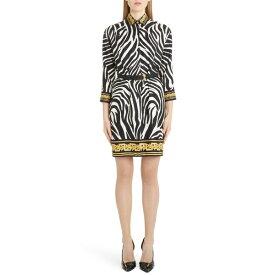 ヴェルサーチ レディース ワンピース トップス Versace Contrast Trim Zebra Print Belted Silk Shirtdress Zebra
