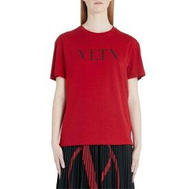 ヴァレンティノ レディース Tシャツ トップス Valentino VLTN Logo Tee Red/ Black