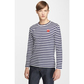 コムデギャルソン メンズ Tシャツ トップス Comme des Garons PLAY Slim Fit Stripe T-Shirt Navy/ White