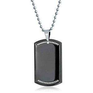 ブリング レディース ネックレス・チョーカー・ペンダントトップ アクセサリー Top Dog Stainless Steel CZ Dog Tag Pendant Necklace Black