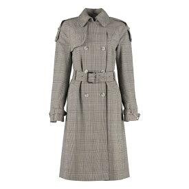 マイケルコース レディース ジャケット&ブルゾン アウター Michael Kors Checked Wool Trench Coat grey