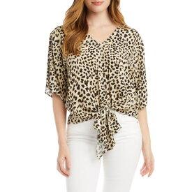 カレンケーン レディース カットソー トップス Leopard Tie Front Top Cheetah