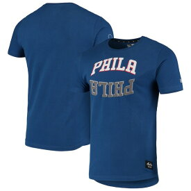 ニューエラ メンズ Tシャツ トップス Philadelphia 76ers New Era Brushed Jersey Wordmark Reflection Applique T-Shirt Royal