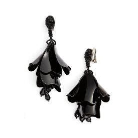 オスカー デ ラ レンタ レディース ピアス&イヤリング アクセサリー Large Impatiens Flower Clip Earrings Jet Black