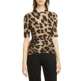 ガニー レディース カットソー トップス Leopard Print Ruched Mesh Top Maxi Leopard 994