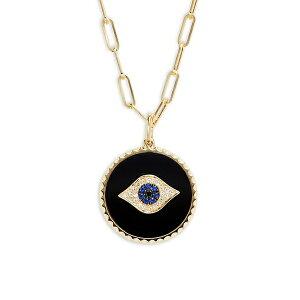 エフィー レディース ネックレス・チョーカー・ペンダントトップ アクセサリー 14K Yellow Gold, Sapphire, Onyx & Diamond Pendant Necklace 0