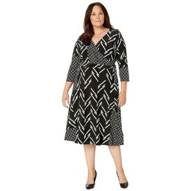 ラルフローレン レディース ワンピース トップス Plus Size Printed Matte Jersey Carlyna 3/4 Sleeve Day Dress Black/Dark Fern/Colonial Cream