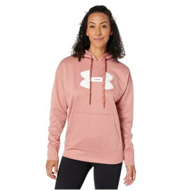 アンダーアーマー レディース パーカー・スウェットシャツ アウター Synthetic Fleece Chenille Logo Pullover Hoodie Fractal Pink Light Heather/Onyx White