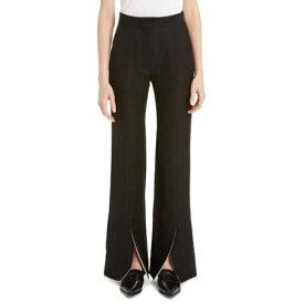 ロエベ レディース カジュアルパンツ ボトムス Front Slit Linen Blend Flare Pants BLACK