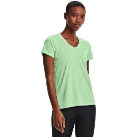 アンダーアーマー レディース Tシャツ トップス Under Armour Women's Bubble Tech Heather V-neck T-shirt Green