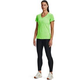 アンダーアーマー レディース Tシャツ トップス Under Armour Women's Twisted Tech V-neck T-shirt Green Bright 06