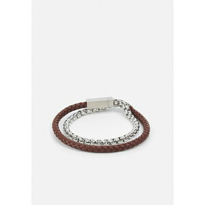 ボス メンズ ブレスレット・バングル・アンクレット アクセサリー BLENDED - Bracelet - silver-coloured/brown zabd01c5