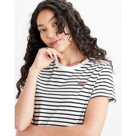 リーバイス レディース Tシャツ トップス Levis Small Logo Stripe T-Shirt black