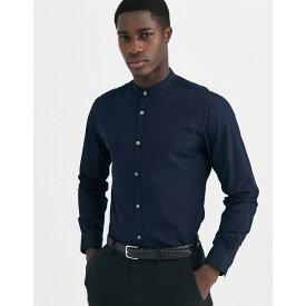 フレンチコネクション メンズ シャツ トップス French Connection plain poplin grandad collar slim fit shirt Marine