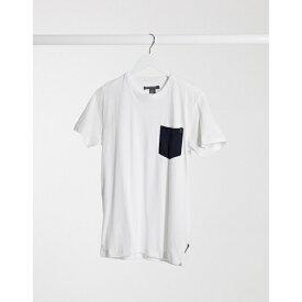 フレンチコネクション メンズ Tシャツ トップス French Connection check pocket t-shirt in white White marine