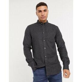 フレンチコネクション メンズ シャツ トップス French Connection plain flannel shirt in gray Charcoal mel