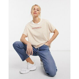 リーバイス レディース Tシャツ トップス Levi's graphic varsity striped T-shirt in yellow Pearl tofu