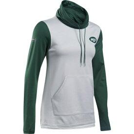 アンダーアーマー レディース パーカー・スウェットシャツ アウター New York Jets Under Armour Women's Combine Authentic French Terry Cowl Neck Hoodie Heathered Gray/Green