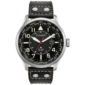 シチズン レディース 腕時計 アクセサリー Eco-Drive Men's Promaster Nighthawk Black Leather Strap Watch 44mm Black