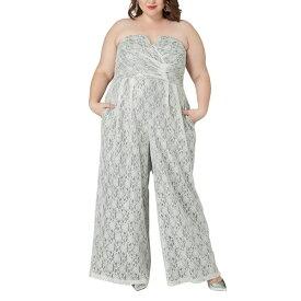 マレプアトイ レディース ワンピース トップス Maree Pour Toi The Magic Lace Strapless Jumpsuit (Plus Size) Silver