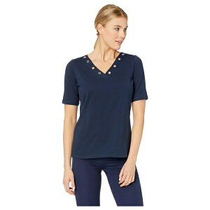 FDJフレンチドレッシングジーンズ レディース シャツ トップス Solid Jersey V-Neck Top with Eyelet Detail Navy