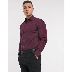 フレンチコネクション メンズ シャツ トップス French Connection slim fit poplin shirt Red