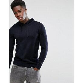 フレンチコネクション メンズ ニット&セーター アウター French Connection Knitted Sweater with Hood Navy