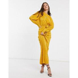 エイソス レディース ワンピース トップス ASOS DESIGN plisse batwing wrap maxi dress with self tie belt in gold Mustard