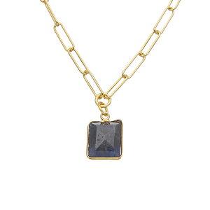 アドニア レディース ネックレス・チョーカー・ペンダントトップ アクセサリー Adornia Fine 14K Over Silver 2.00 ct. tw. Blue Sapphire Link Chain Necklace -