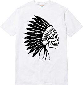 インディアン ネイティブ スカル ドクロ Tシャツ tee/メンズ レディース ユニセックス ストリート インディアン ネイティブ スカル ドクロ 髑髏 ガイコツ tee tシャツ 黒 ブラック 白 ホワイト