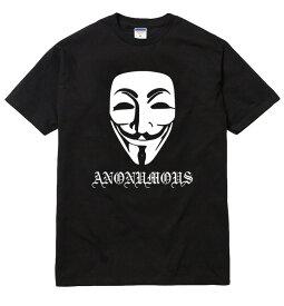 ANONYMOUS Tシャツ/半袖 レディース メンズ ストリート アノニマス anonymous illuminati イルミナティ フリーメーソン フリーメイソン レプタイル お面 仮面 マスク ハッカー ロゴ トップス 陰謀論 tee tシャツ