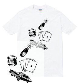 HUSTLER Tシャツ 半袖 ギャンブル カジノ コイン チップ シャンパン トランプ ハスラー 人気 ストリート 流行 メンズ レディース ダンス 衣装 HIPHOP ストリート ブランド tee Tシャツ