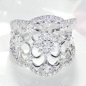 K18ホワイトゴールド【0.7ct】ダイヤモンド透かしフラワーリング
