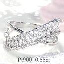 ☆【送料無料】pt900【0.55ct】ダイヤモンド クロス リング 指輪 かわいい 人気 上品 ダイヤ Pt900 透かし プラチナ …