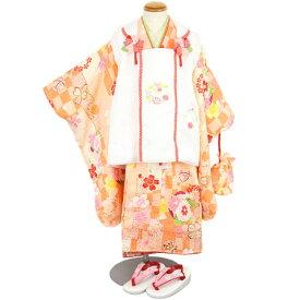 七五三 3歳のお祝い着 正絹 被布セット 「きょうと 花ひめ」 6点セット 「市松模様」 [商品番号pt3763]【あすかや】